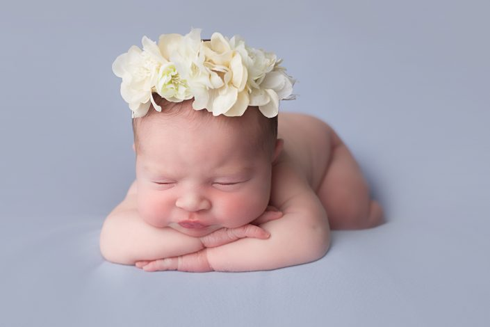 Baby Photographer Glasgow - head on hands pose