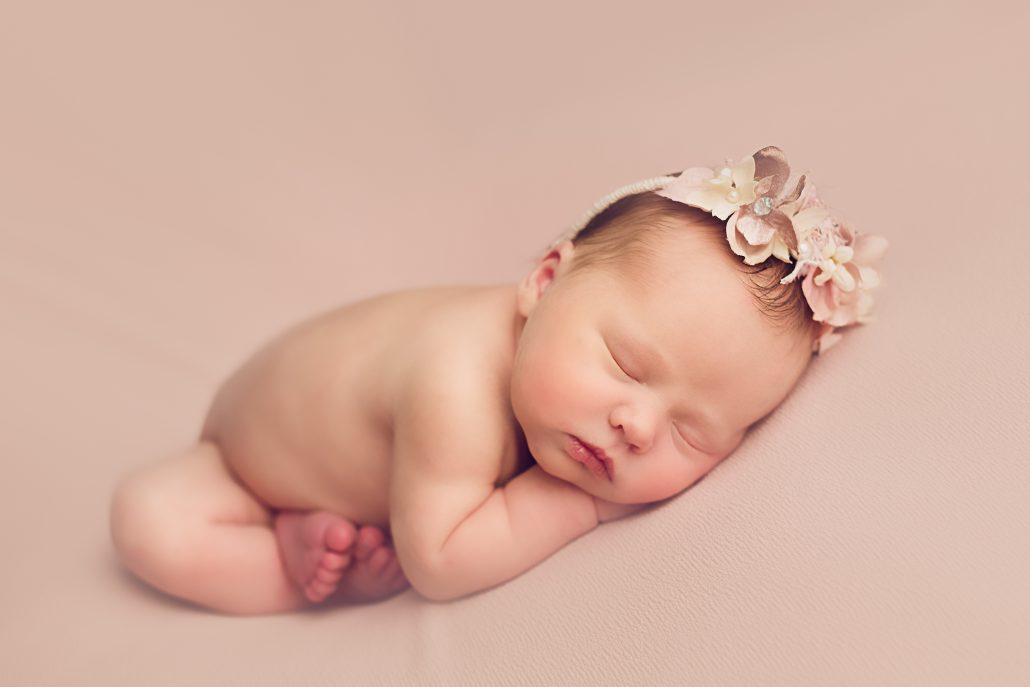 Baby Photo Shoot Glasgow - baby wearing pink headband