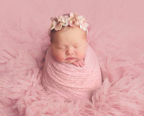 Newborn Photo Shoot Glasgow - baby girl in pink