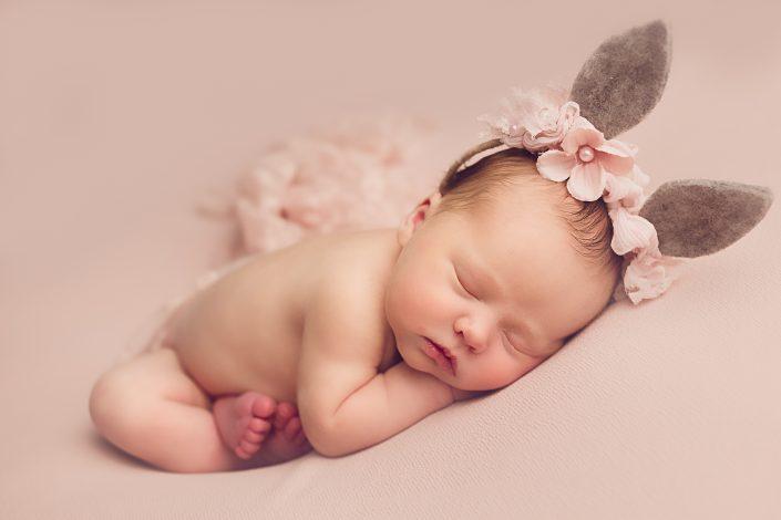 Baby Photo Shoot Glasgow - baby girl wearing pink bunny ears