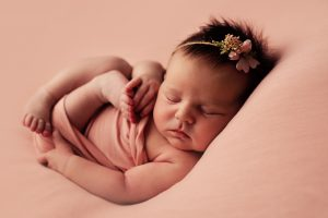 Newborn Photography Training Glasgow - baby wearing floral tieback