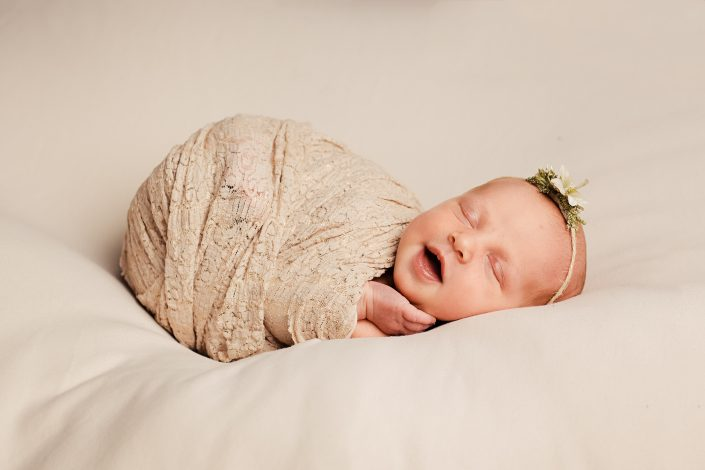 Newborn Photographer Glasgow - baby girl smiling