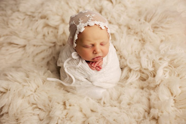 Newborn Photographer Glasgow - potato sack pose