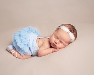 baby girl in blue ballerina tutu